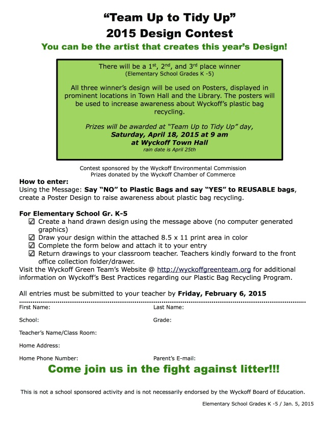 Team Up To Tidy Up 2015 2015 K-8 Grade Student Contest |